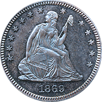 1869 S Seated Liberty Quarter