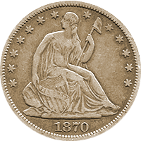1870 CC Seated Liberty Dollar