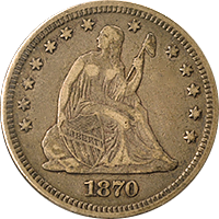 1870 CC Seated Liberty Quarter