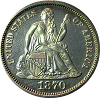 1870 Seated Liberty Dime