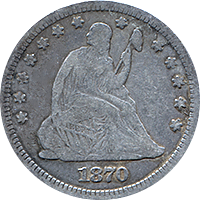 1870 Seated Liberty Quarter