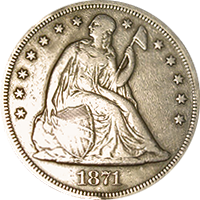 1871 CC Seated Liberty Dollar
