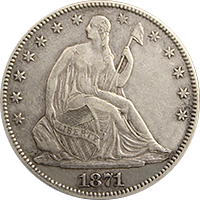 1871 Seated Liberty Half Dollar