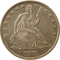 1871 S Seated Liberty Half Dollar