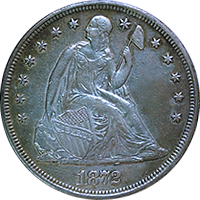 1872 CC Seated Liberty Dollar