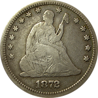 1872 CC Seated Liberty Quarter