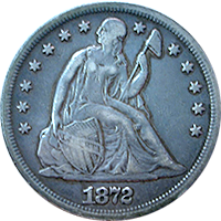 1872 S Seated Liberty Dollar