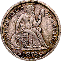 1873 CC Seated Liberty Dime