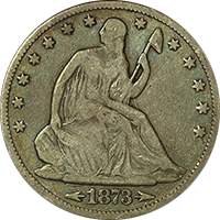 1873 CC Seated Liberty Half Dollar