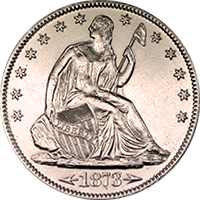 1873 Seated Liberty Half Dollar