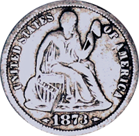 1873 S Seated Liberty Dime