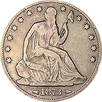 1873 S Seated Liberty Half Dollar