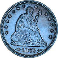 1873 S Seated Liberty Quarter