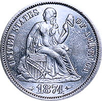 1874 CC Seated Liberty Dime