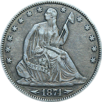 1874 CC Seated Liberty Half Dollar