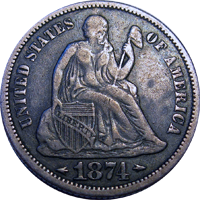 1874 Seated Liberty Dime