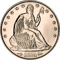 1874 S Seated Liberty Half Dollar