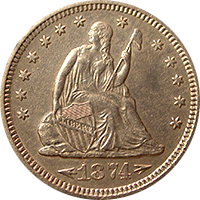 1874 S Seated Liberty Quarter