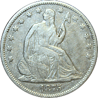 1875 CC Seated Liberty Half Dollar