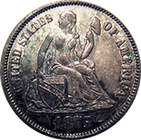 1875 S Seated Liberty Dime