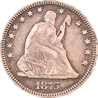 1875 S Seated Liberty Quarter