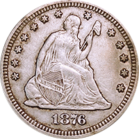 1876 CC Seated Liberty Quarter