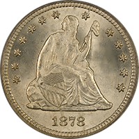 1878 S Seated Liberty Quarter