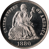 1880 Seated Liberty Dime