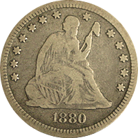 1880 Seated Liberty Quarter