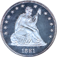 1881 Seated Liberty Quarter