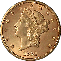 1884 S Liberty Head Double Eagle