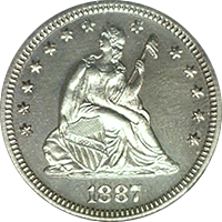 1887 Seated Liberty Quarter