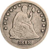 1888 Seated Liberty Quarter