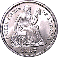 1888 S Seated Liberty Dime