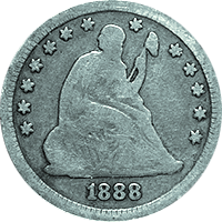 1888 S Seated Liberty Quarter