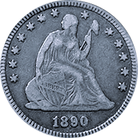 1890 Seated Liberty Quarter