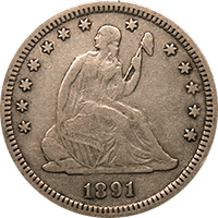 1891 Seated Liberty Quarter