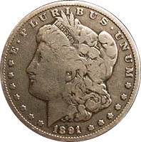 CoinTrackers.com has estimated the 1891 O Morgan Silver Dollar Value