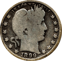 CoinTrackers.com has estimated the 1899 Barber Quarter value at an ...