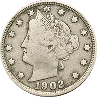 1902 Liberty Head V Nickel