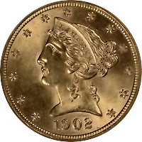 1902 S Liberty Head Half Eagle