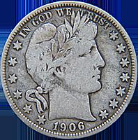 1906-D Barber Quarter Good//VG SKU#13869