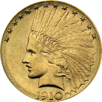 1910 S Indian Head Gold Eagle
