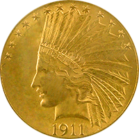 1911 S Indian Head Gold Eagle