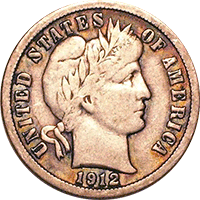 1912 Barber Dime Value Cointrackers