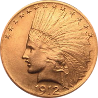 1912 S Indian Head Gold Eagle
