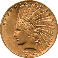 1914 D Indian Head Gold Eagle
