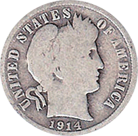 1914 S Barber Dime Value Cointrackers