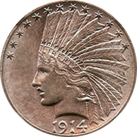 1914 S Indian Head Gold Eagle