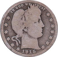 CoinTrackers.com has estimated the 1915 D Barber Quarter value at an ...
